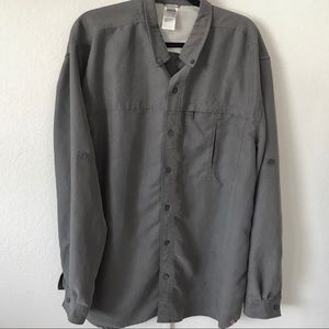 THE NORTH FACE stone grey button down long sleeve